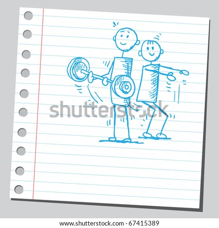 Sketch style illustration of a men exercising - stock vector
