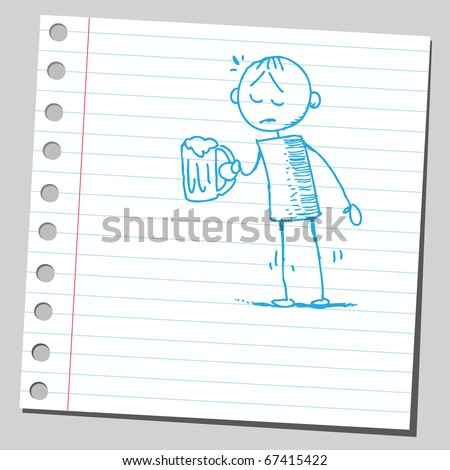 Sketch style illustration of a sad drunk man - stock vector