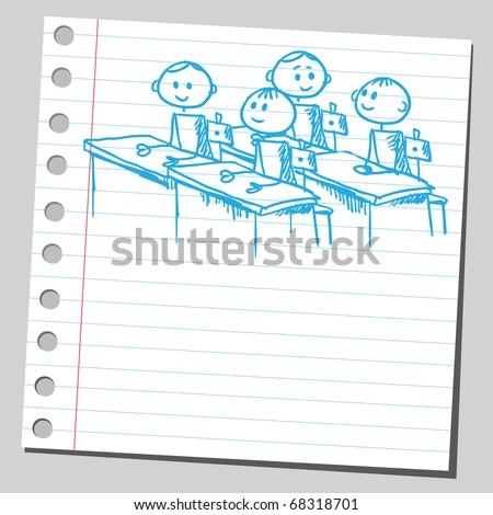 Sketch style illustration of a schoolchildren in classroom