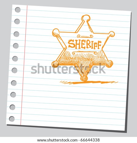 Sketch style illustration of a sheriff's badge - stock vector