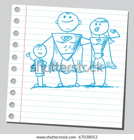 Sketch style illustration of a superhero family