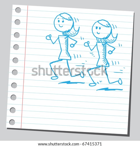 Sketch style illustration of a women exercising - stock vector