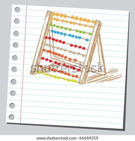 Sketch style illustration of an abacus - stock vector