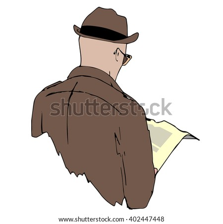 """Sketch style illustration """"Spy man"""". A back view of a man wearing sunglasses and pretending to read a newspaper. - stock vector"""