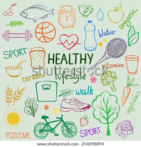 Sketch style items, objects and food. Healthy lifestyle background. - stock vector