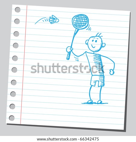 Sketch style vector illustration of a badminton player - stock vector