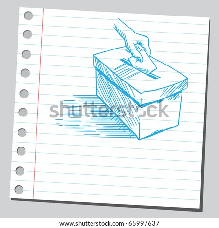 Sketch style vector illustration of a hand putting voting ballot in a vote-box - stock vector