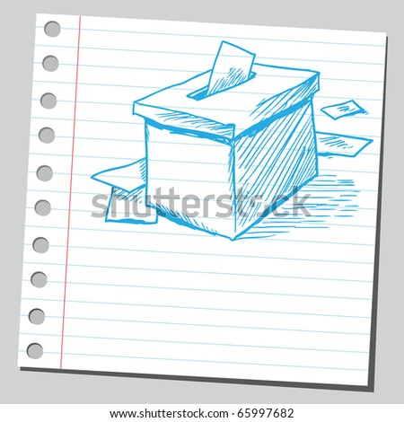 Sketch style vector illustration of a vote box - stock vector
