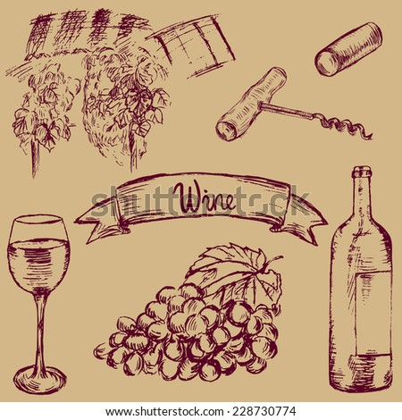 Sketch style vector wine bottle, glass, grapes, cork, wine yard - stock vector