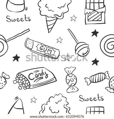 Sketch Sweet Candy Doodle Stock Vector 612094076 ...