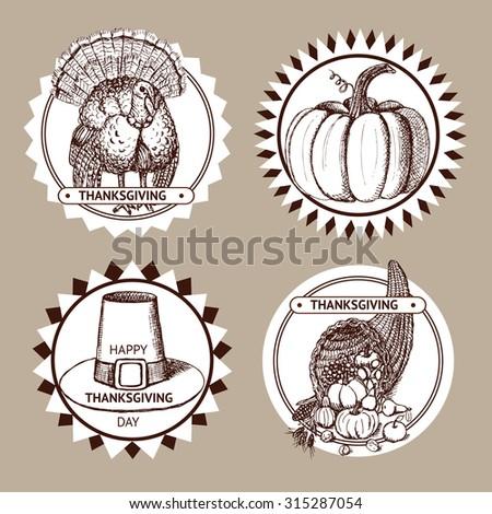 Sketch Thanksgiving set of labels in vintage style, vector. Hat, pumpkin, turkey and cornucopia. - stock vector