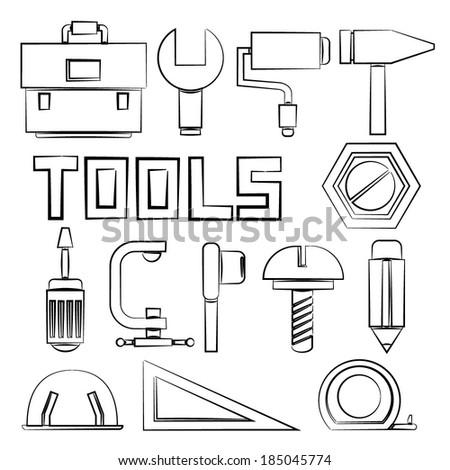sketch tools set - stock vector