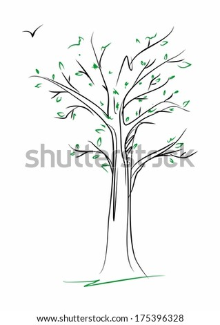 Sketch tree with spring leaves - vector illustration