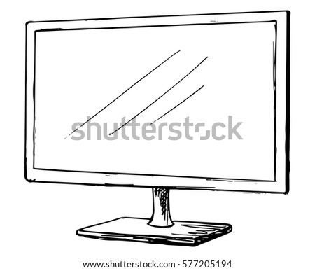 tv clipart black and white. sketch tv isolated on a white background. monitor. vector illustration. tv clipart black and