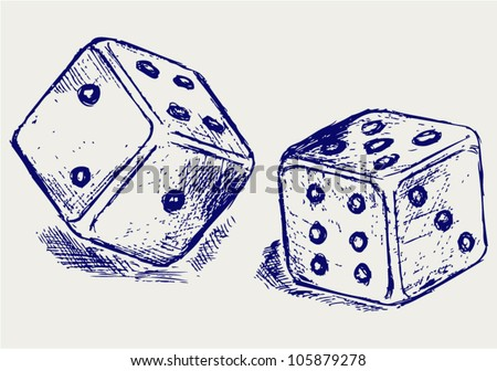 Sketch two dices - stock vector