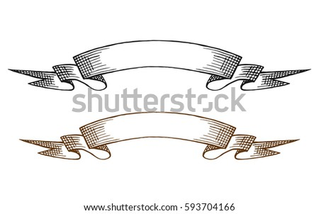 Line Art Ribbon : Sketch two vintage ribbon banners stock photo vector