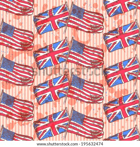 Sketch UK and USA flags, vector vintage seamless pattern - stock vector