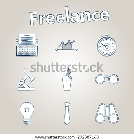 Sketch vector icons for freelance and business. Set of sketch white icons with ink contour for freelance or business on gray background. - stock vector