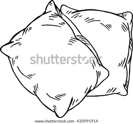 sketch vector illustration of pillow on white