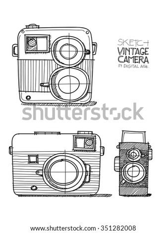 Sketch vintage camera in digital age - stock vector