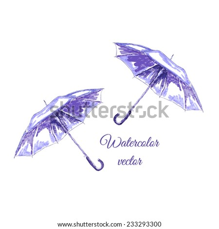 Sketch watercolor hand draw open umbrella - stock vector
