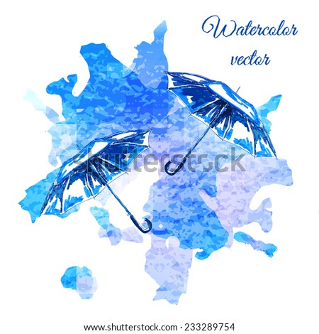 Sketch watercolor hand draw open umbrellas. Can be used for fashion design - stock vector