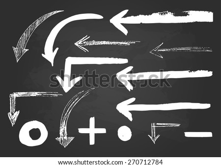 Sketch white  arrows collection on a black background, drawing hand, vector illustration. - stock vector