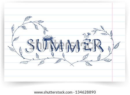 """Sketch with """"summer"""" lettering, a bird, a nest and a plant. Vector illustration - stock vector"""
