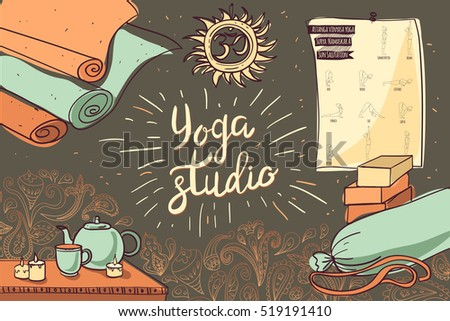 Sketch with Yoga Props and Other Elements for Yoga Studio