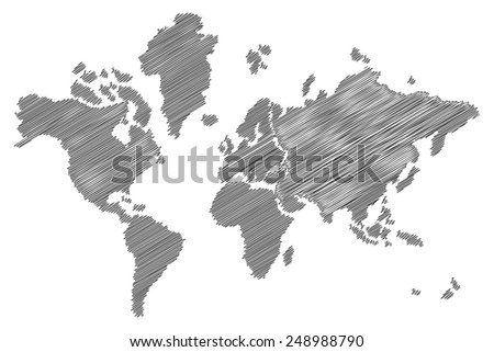sketch world map, pencil art - stock vector