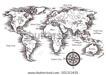 Sketch World Map Template Black White Stock Vector - World map continents and oceans black and white