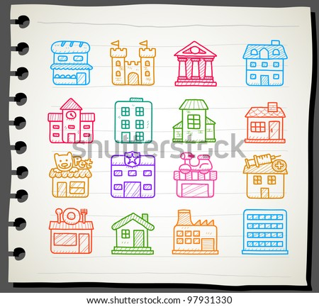 Sketchbook series | hand drawn houses, buildings,store ,travel icons, - stock vector