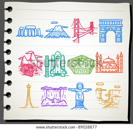 Sketchbook  series |  landmarks,travel icon set - stock vector