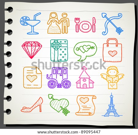 Sketchbook series | love,wedding,fashion icon set - stock vector