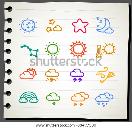 Sketchbook series |  weather , season ,natural icon set - stock vector