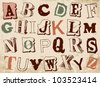 sketched alphabet set, based on newspaper clippings,vector - stock vector