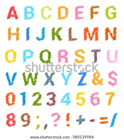Sketched alphabet set. Capital letters and numbers. vector