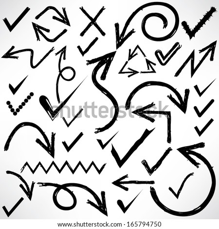 sketched arrows, check marks, doodle line - stock vector