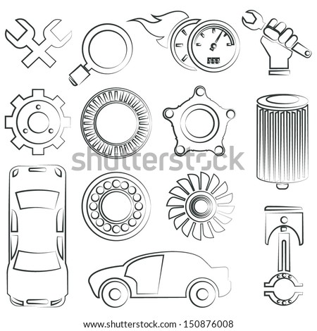 sketched auto part icon, car service - stock vector