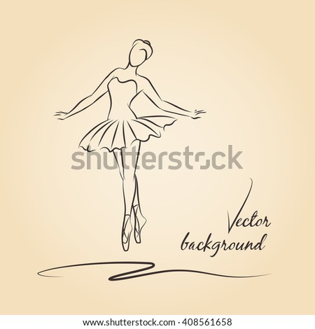 Sketched ballerina. Performance girl ballet drawing, beautiful dancer. Vector illustration - stock vector