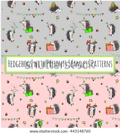 sketched birthday vintage seamless patterns with cute cartoon hedgehogs holding cakes and presents on pink and grey backgrounds.  Hand drawn Vector illustration - stock vector