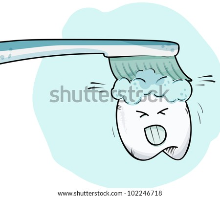 Sketched cartoon tooth - stock vector
