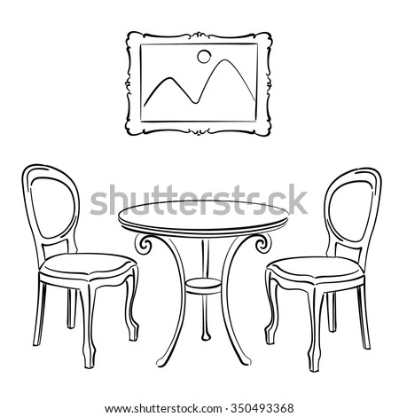sketched chairs table and picture frame cafe interior vector