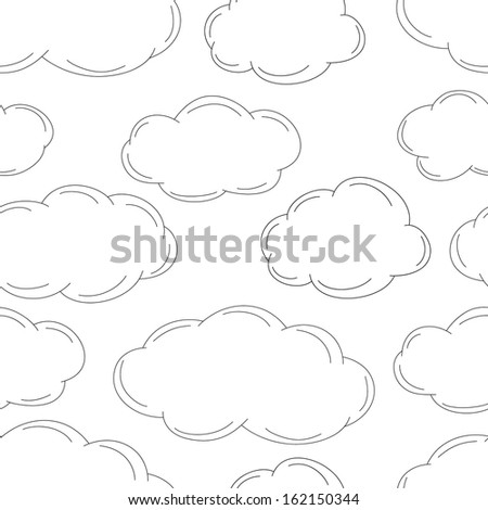 Sketched clouds, seamless pattern. Vector illustration
