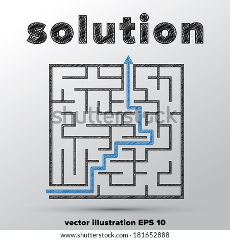 Sketched concept of finding solution in complicated maze. - stock vector