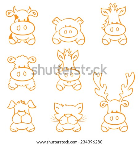 Sketched farm animals - gradient free and easy to change color - stock vector