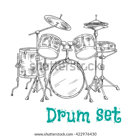 Sketched five piece drum set symbol of modern percussion instrument with bass drum and tom toms in the center of kit, snare and floor drums on both sides, supplemented by crash and hi hat cymbals - stock vector