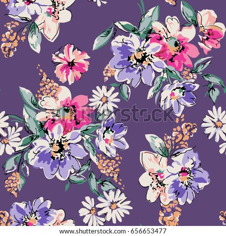 Sketched flower print in purple ~ seamless background