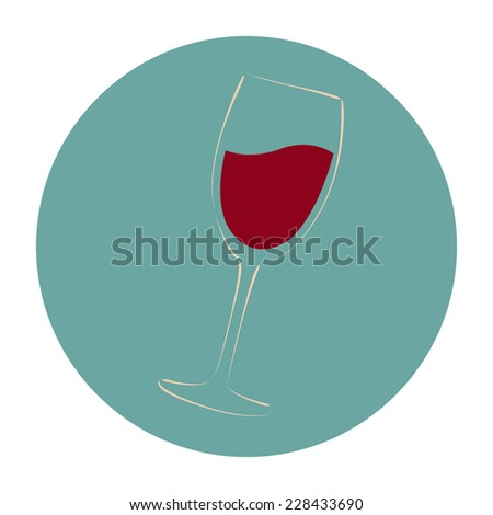 Sketched glass of red wine. Background can be easily removed. Design template for label, banner, postcard, logo. Vector. - stock vector