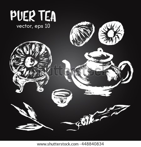 Sketched illustration of  puer tea white on blackboard. Hand drawn brush food ingredient. Vector bio and eco icon, logo design template.Concept for healthy food. - stock vector